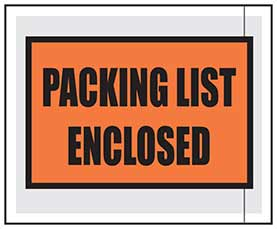 "Printed Packing List Pouches 4.5"" x 5.5"""