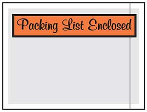 "Printed Packing List Pouches 4.5"" x 6"""