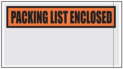 "Printed Packing List Pouches 5.5"" x 10"""